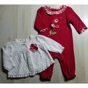Gymboree Adorable Fox Red Flower Romper & Cardigan